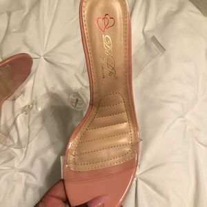 Shoes - Pink and clear block heels